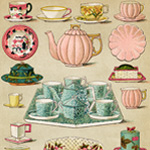 mrs beetons book of household management, breakfast and tea china image, vintage kitchen clipart, old fashioned dishes illustration, beeton cookbook page