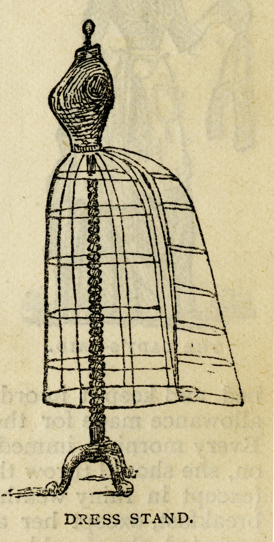 mrs beeton dress stand victorian dress form image vintage sewing clip art black - Dress Frame