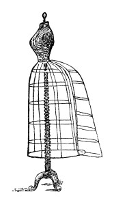 mrs beeton dress stand, victorian dress form image, vintage sewing clip art, black and white clipart, wire dress form illustration