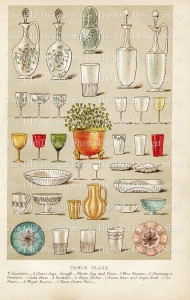 mrs beeton table glass, book of household management 1888, vintage kitchen clipart, antique dishes image, beeton cookbook page