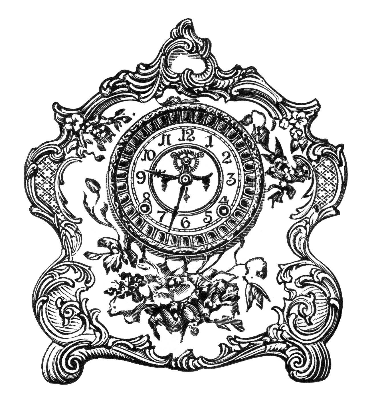 vintage clock clip art, black and white graphics, old fashioned clock image, Victorian mantle clock, antique porcelain clock illustration