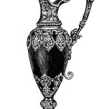 rhodian pitcher image, elegant vintage vase clipart, old fashioned mantle ornament, black and white clip art, antique jug illustration