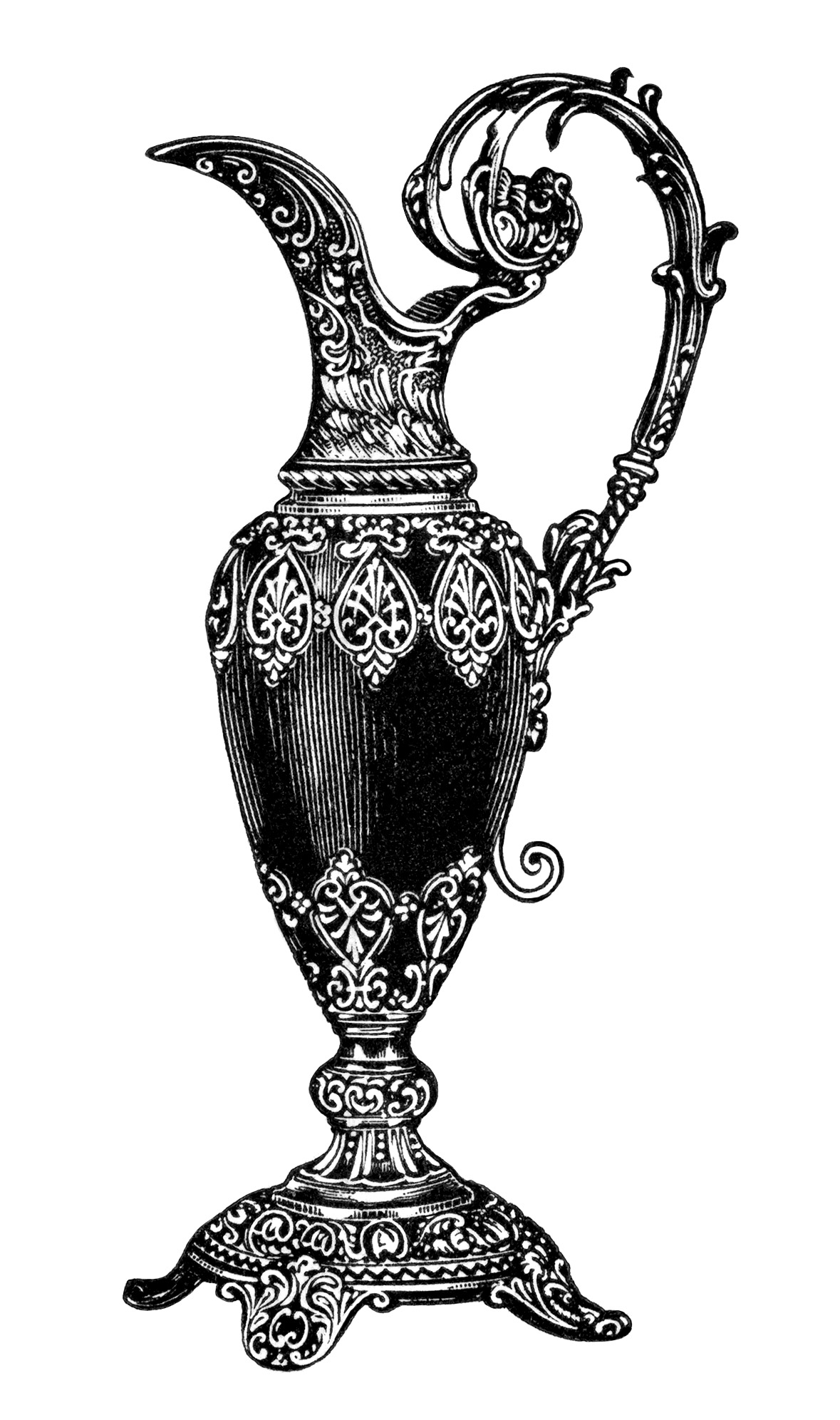 Mantel Ornamental Pitcher Clip Art - Old Design Shop Blog