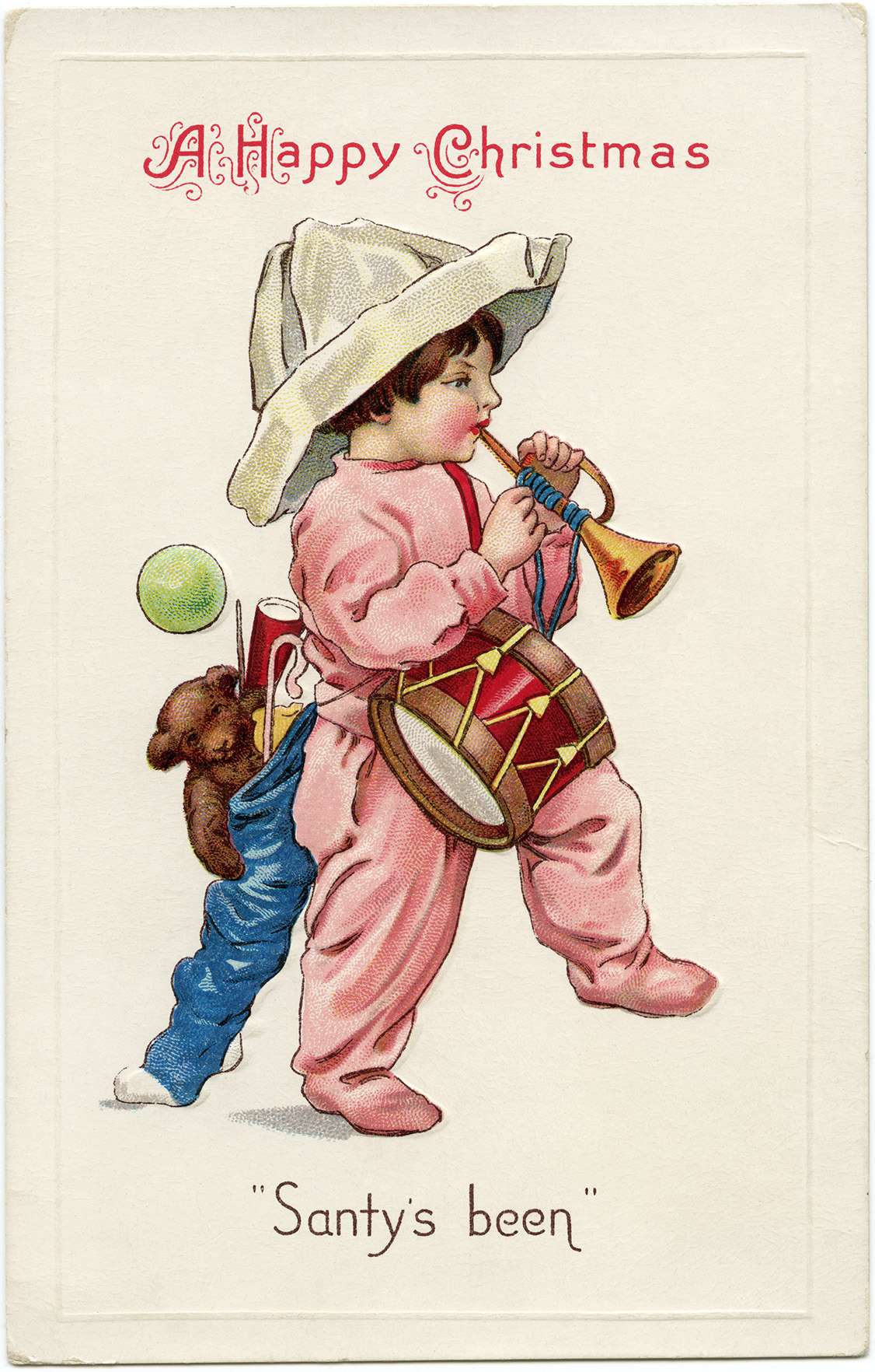 vintage Christmas postcard, Santy's Been, old Christmas toys, child marching with toys, old fashioned Christmas card