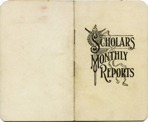 vintage report card, old school ephemera, scholars monthly reports, antique school papers, aged booklets digital download