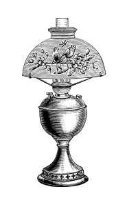 vintage lamp clip art, black and white clipart, Victorian lighting image, old fashioned table lamp illustration, antique lamp with globe graphic