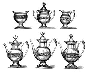 vintage tea set clipart, antique pot bowl image, old fashioned teapot illustration, free black and white clip art, vintage tea coffee graphics
