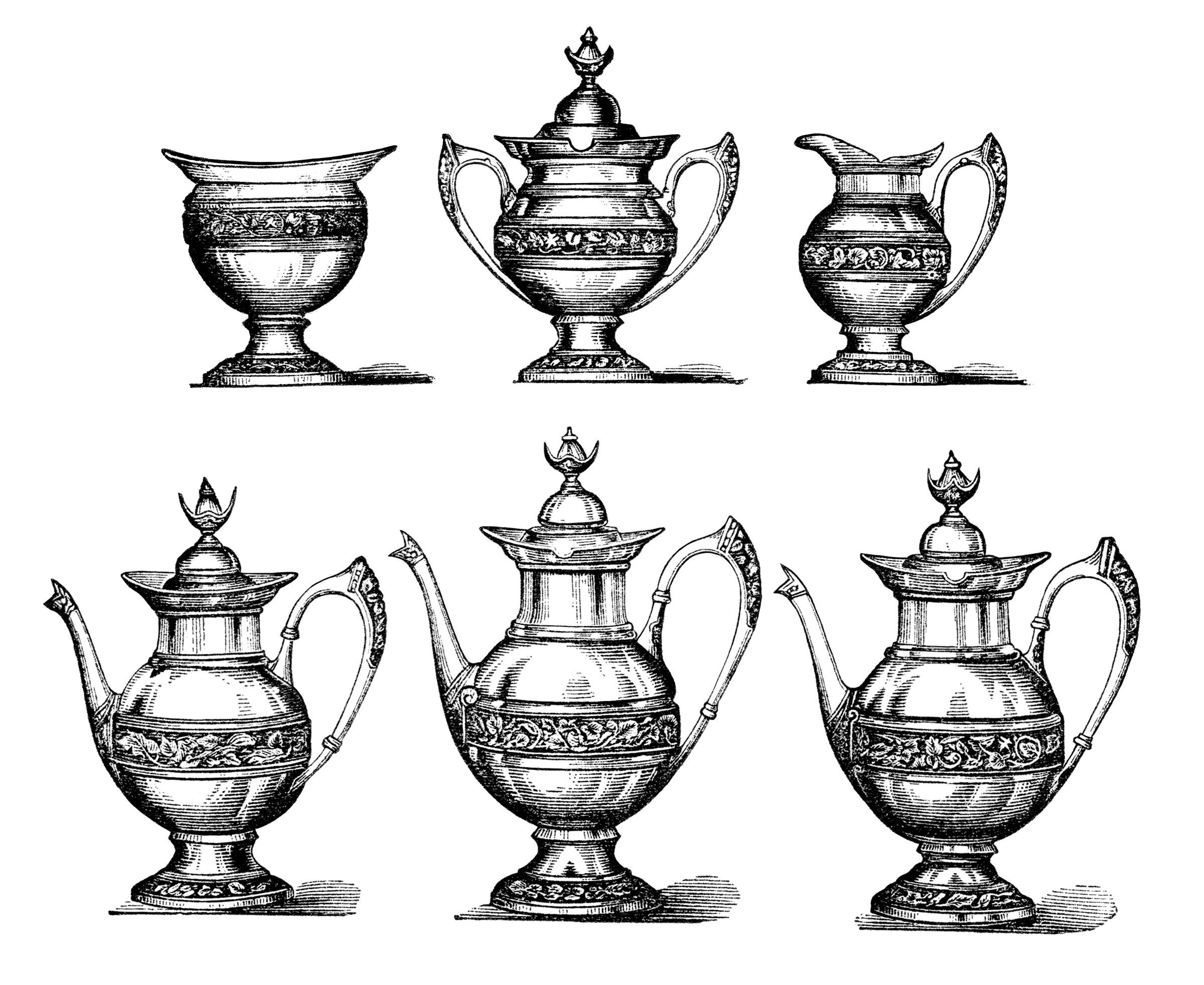 vintage tea set clipart, antique pot bowl image, old fashioned teapot illustration, free black and white clip art, vintage tea coffee graphics