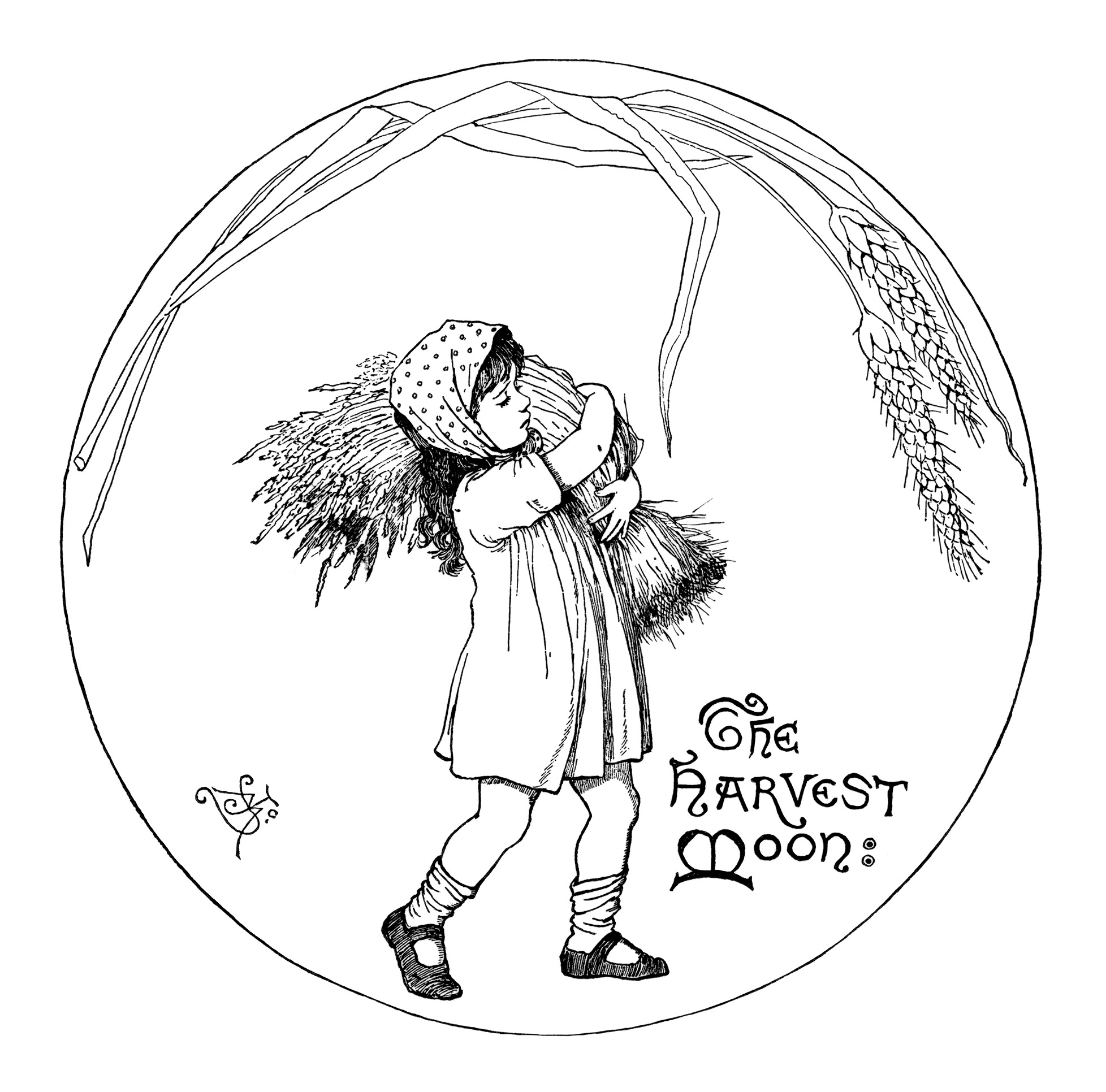 harvest moon illustration, vintage fall graphics, black and white clipart, girl carrying wheat, victorian child clip art
