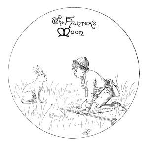 the hunter's moon, boy rabbit clip art image, black and white clipart, boy hunter illustration, vintage child printable