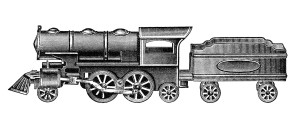 vintage toy train, old catalogue listing, red engine and tender, toy steam locomotive image, black and white clipart