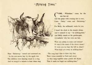 vintage farm image, milking time poem, black and white clipart, cow kitten clip art, old fashioned farm graphics