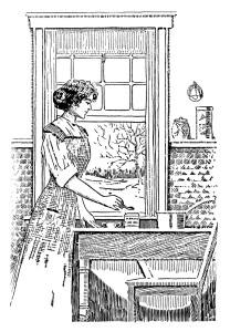 vintage kitchen clipart, black and white clipart, woman cooking image, preparing a meal illustration, digital food graphic