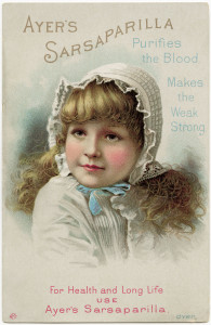 Victorian trading card, ayers sarsaparilla advert, free vintage ephemera, shabby digital paper image, quack medicine graphic, Victorian girl clipart