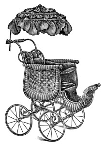 old catalogue page, vintage baby clip art, antique baby stroller image, free black and white clipart, pram stroller carriage graphic, parasol covered go cart