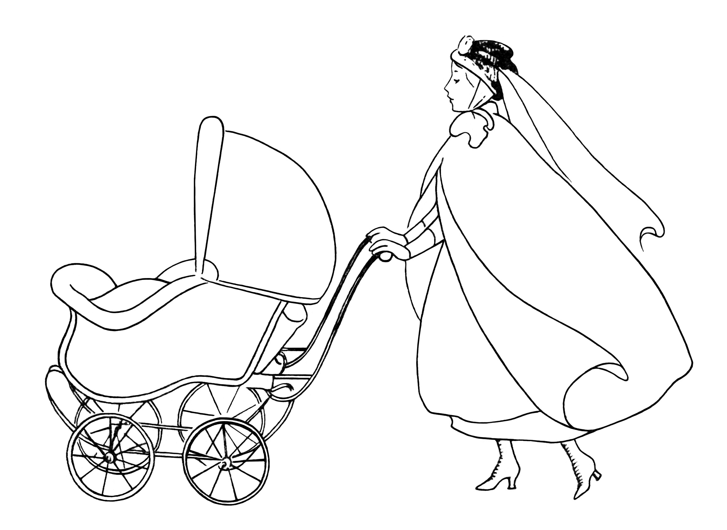 vintage baby clipart, free black and white clip art, woman pushing baby carriage, nanny walking pram image, printable baby graphic