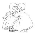 baby clip art, black and white clipart, vintage children image, baby girl illustration, little girls digital stamp