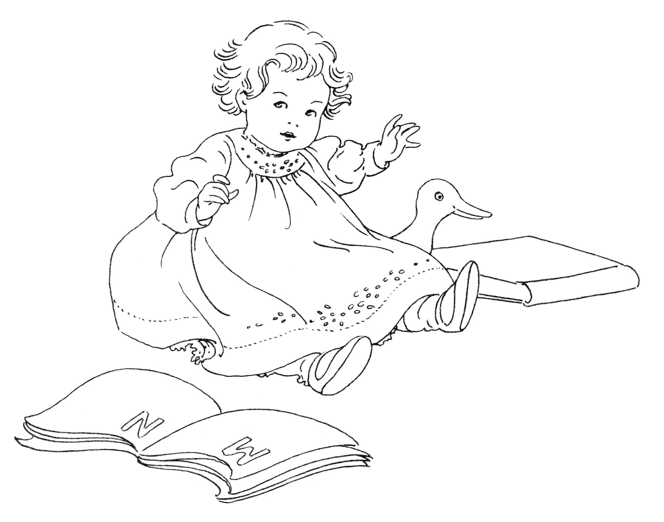 vintage baby clipart, black and white clipart, baby with toys illustration, pictures from baby book, little girl with books illustration