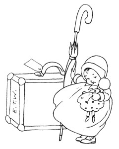 vintage baby clip art, black and white clipart, baby's little journey, baby book illustration, baby with doll and suitcase