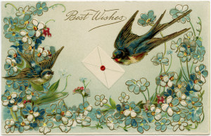 vintage bird postcard, antique floral postcard image, old fashioned best wishes card, free bird flower graphic
