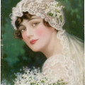 vintage bride image, c allan gilbert art, pictorial review april 1915, old fashioned wedding graphic, antique bridal illustration