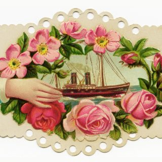 Free vintage clip art Victorian calling card hand pink roses ship