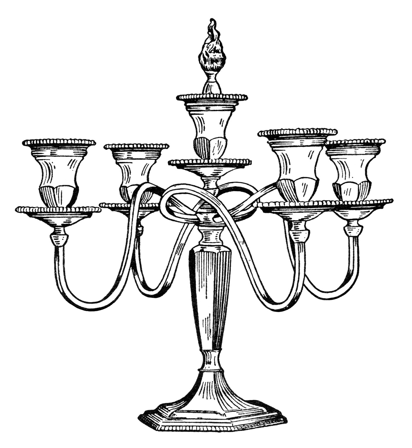 vintage candelabra clip art, black and white clipart, antique candle holder, old style candelabra printable