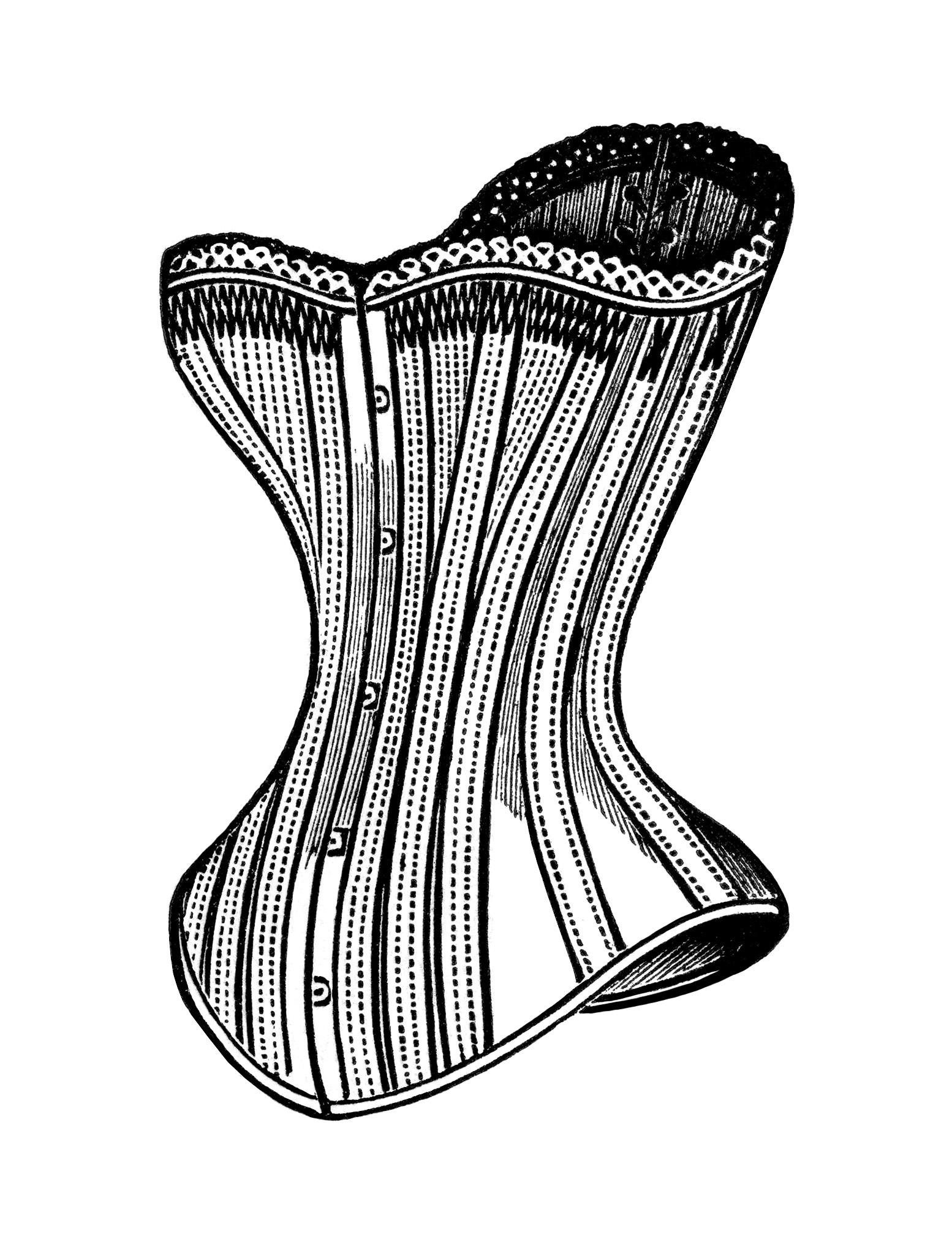 black and white clip art, free steampunk graphics, victorian corset image, vintage corset clipart, edwardian fashion illustration