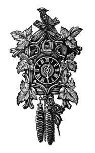 vintage clock clip art, black and white clipart, cuckoo clock image, antique clock graphic, free clock download