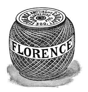 old magazine advertisement digital, vintage sewing clipart, free black and white clip art, florence crochet silk illustration, antique crochet knitting cotton image