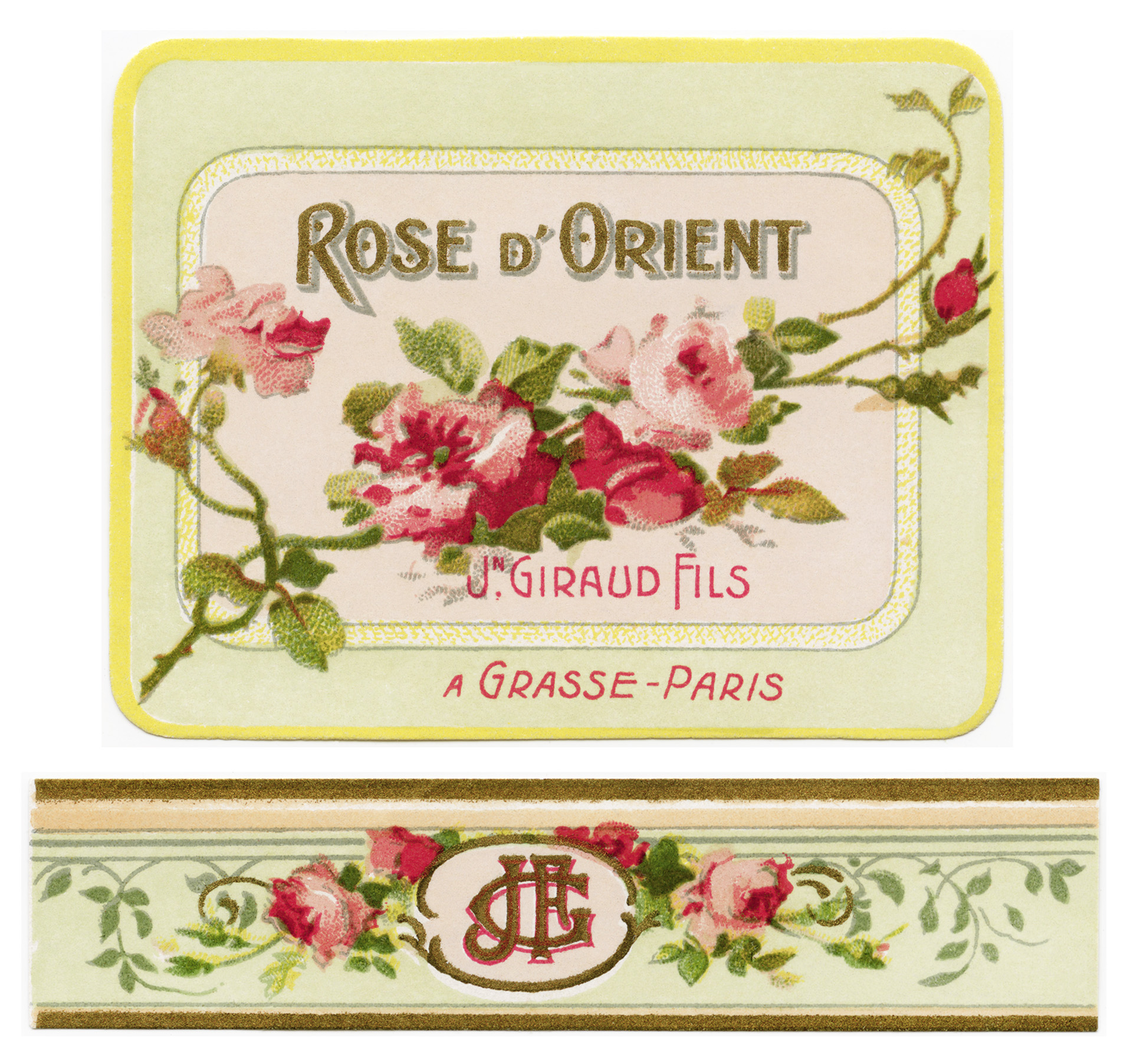 French perfume label, Jn Giraud fils, rose d'orient, vintage french ephemera, victorian roses printable