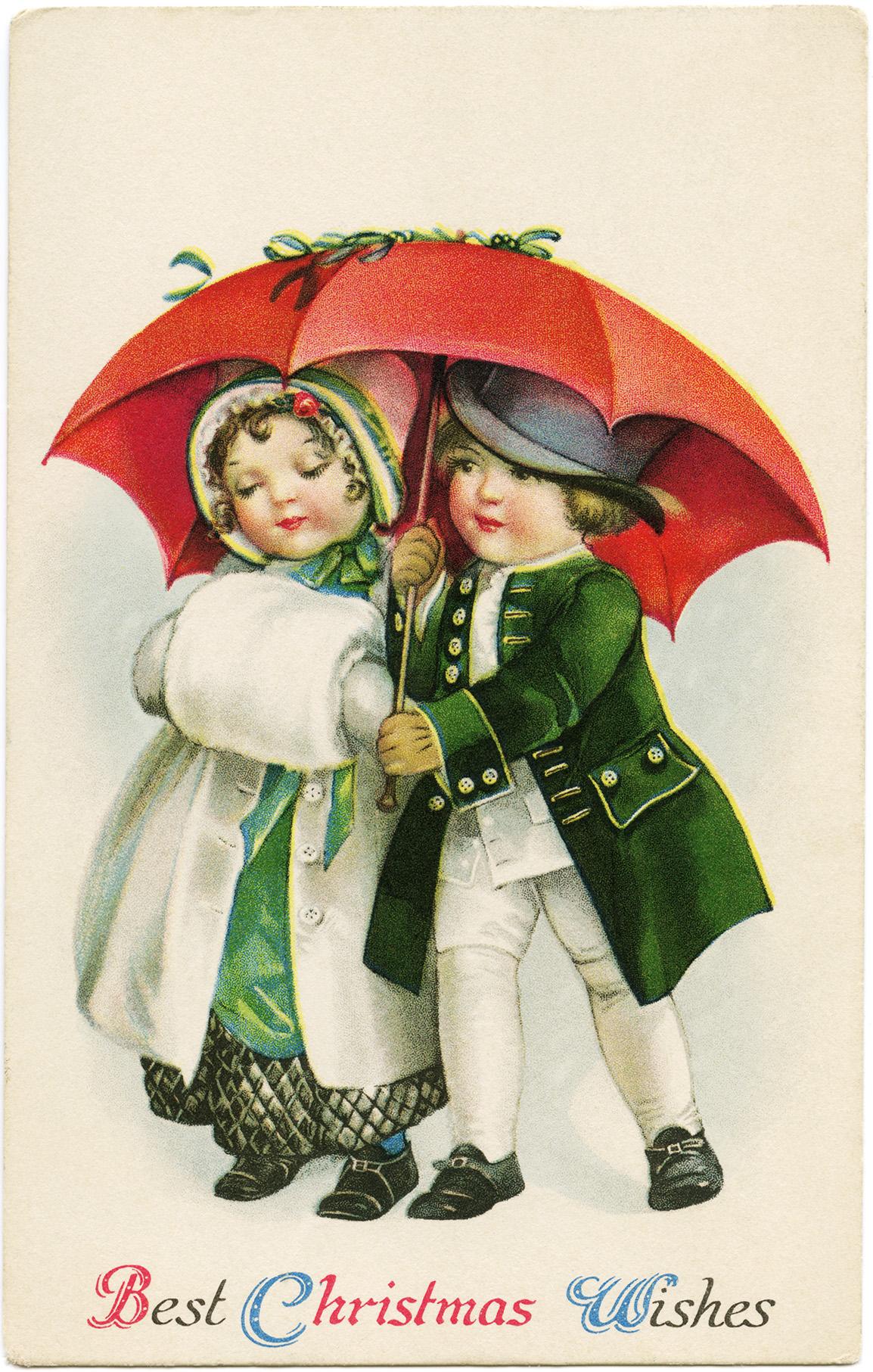 vintage Christmas postcard, victorian boy girl clipart, children walking under umbrella image, old fashioned christmas card, antique digital download postcard