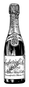 germania wine cellars, old magazine advertisement, grand imperial sec champagne ad, vintage wine bottle clipart, free black white clip art