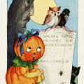 whitney halloween postcard, vintage halloween printable, pumpkin girl owl crow black cat, jack o lantern grave headstone, child halloween image