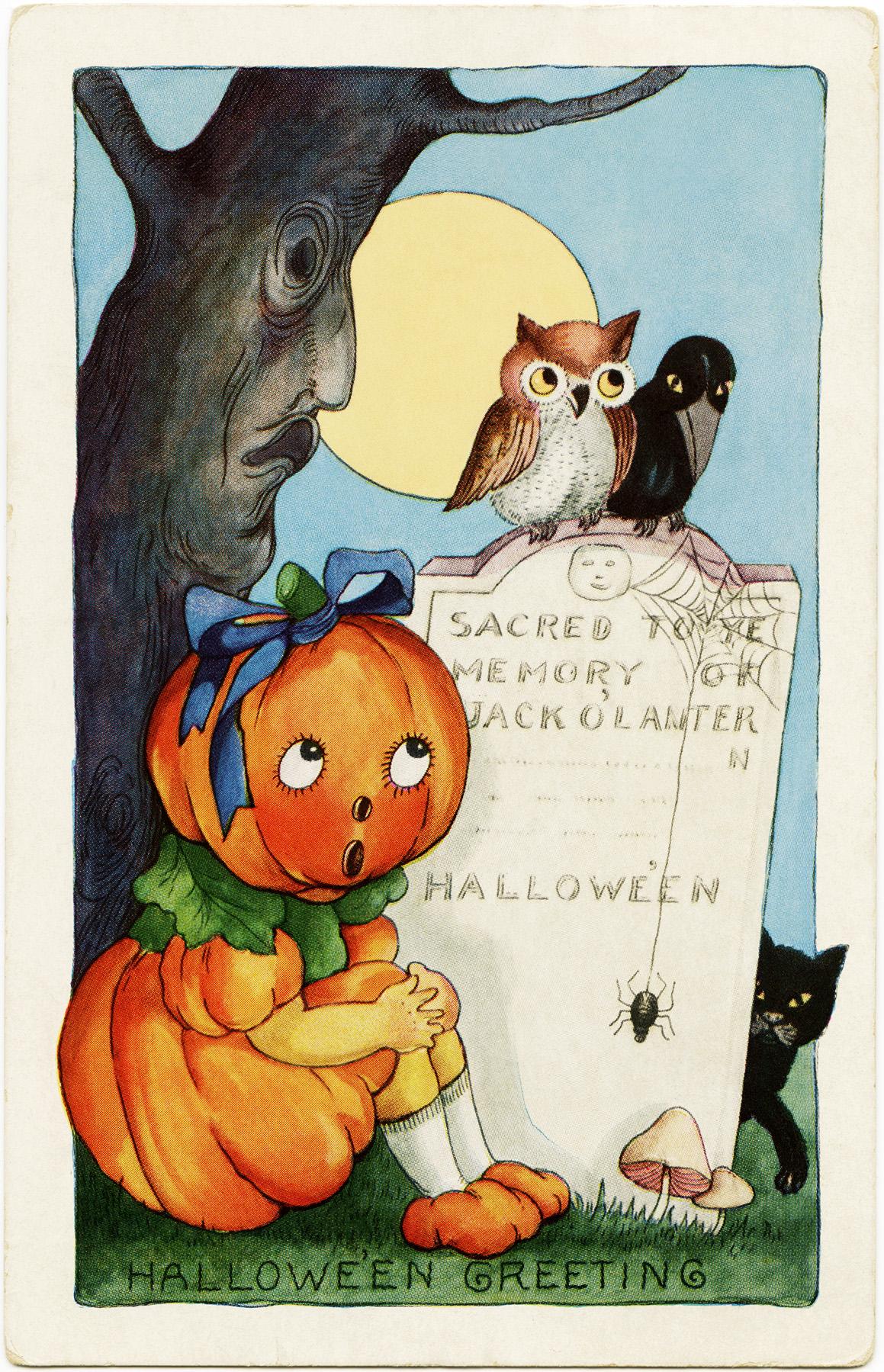 whitney halloween postcard, vintage halloween printable, pumpkin girl owl crow black cat, jack o lantern grave headstone, child halloween image