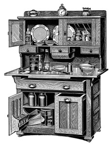 vintage kitchen clipart, old catalogue page, antique kitchen cabinet image, black and white clip art, old fashioned cupboard illustration