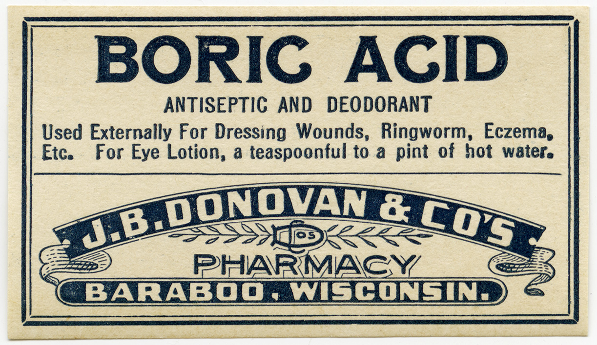 vintage boric acid pharmacy label free graphic old