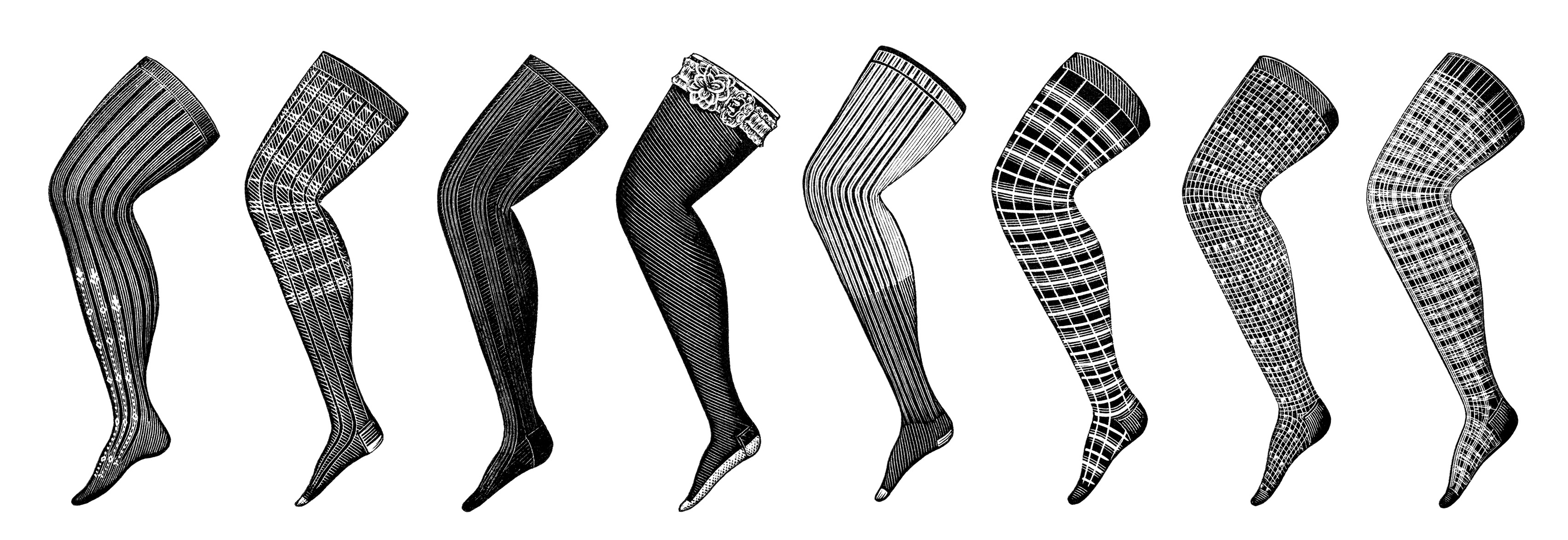 steampunk leg graphic, antique ladies hosiery illustration, Koch catalogue page, Victorian fashion image, vintage leg clip art, black and white clipart