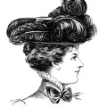 Victorian hat fashion illustration, black and white clipart, vintage ladies hat clip art, ostrich plume Edwardian hat