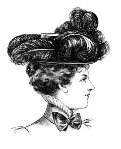 Victorian hat fashion illustration, black and white clipart, vintage ladies hat clip art, ostrich plume Edwardian hat