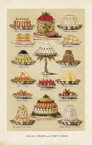 vintage food clipart, Mrs Beeton's dessert image, beeton jellies creams sweet dishes, elegant cake illustration, old cookbook page