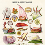 mrs beeton menu, vintage kitchen clipart, book of household management, menu guest card image, vintage party card