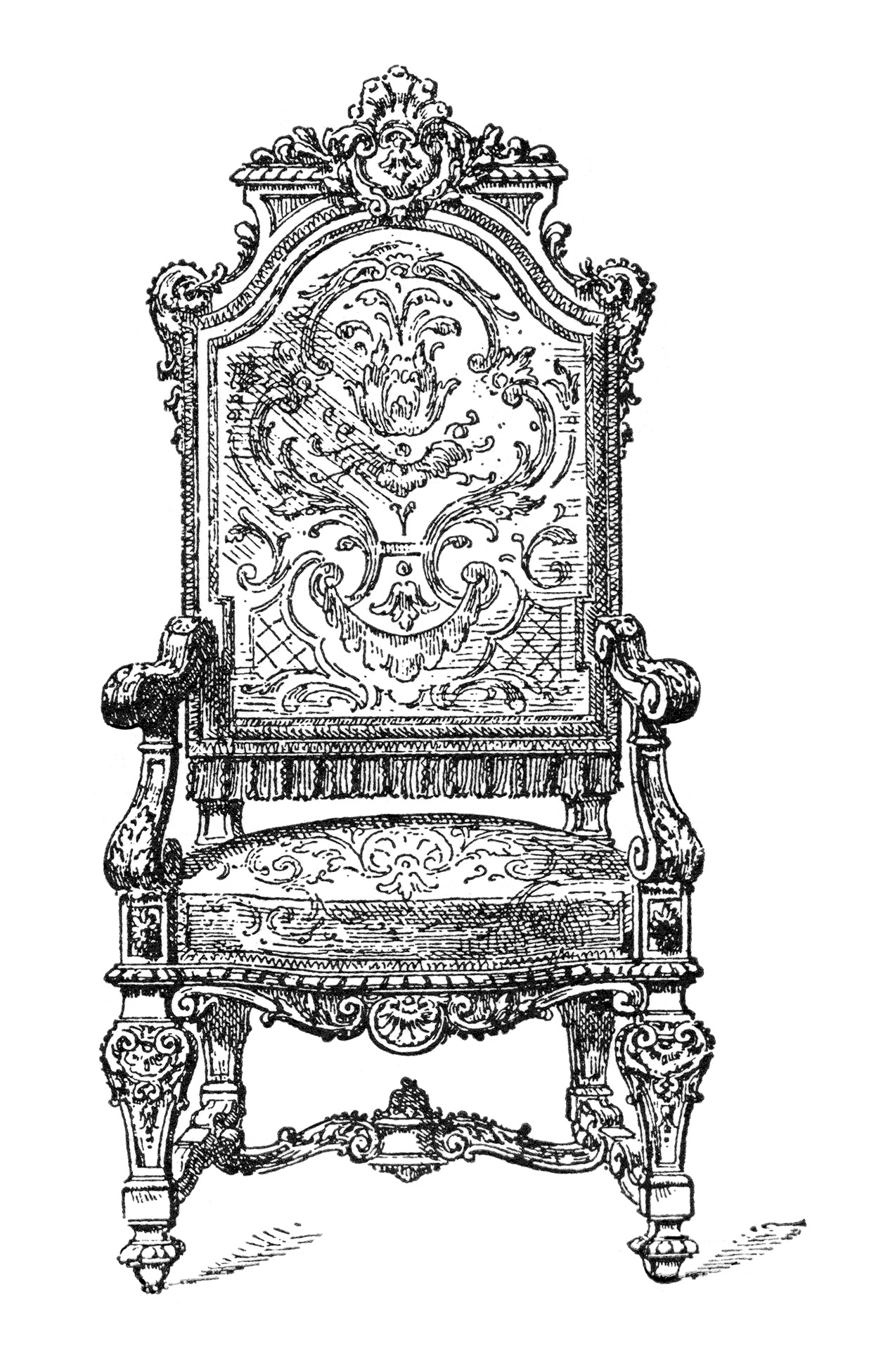 vintage chair clip art, franz meyer image, black and white clipart, antique furniture illustration, ornate chair with arms graphic
