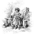 oscar pletsch engraving, shy child clip art, shyness illustration, black and white clipart, victorian girl printable