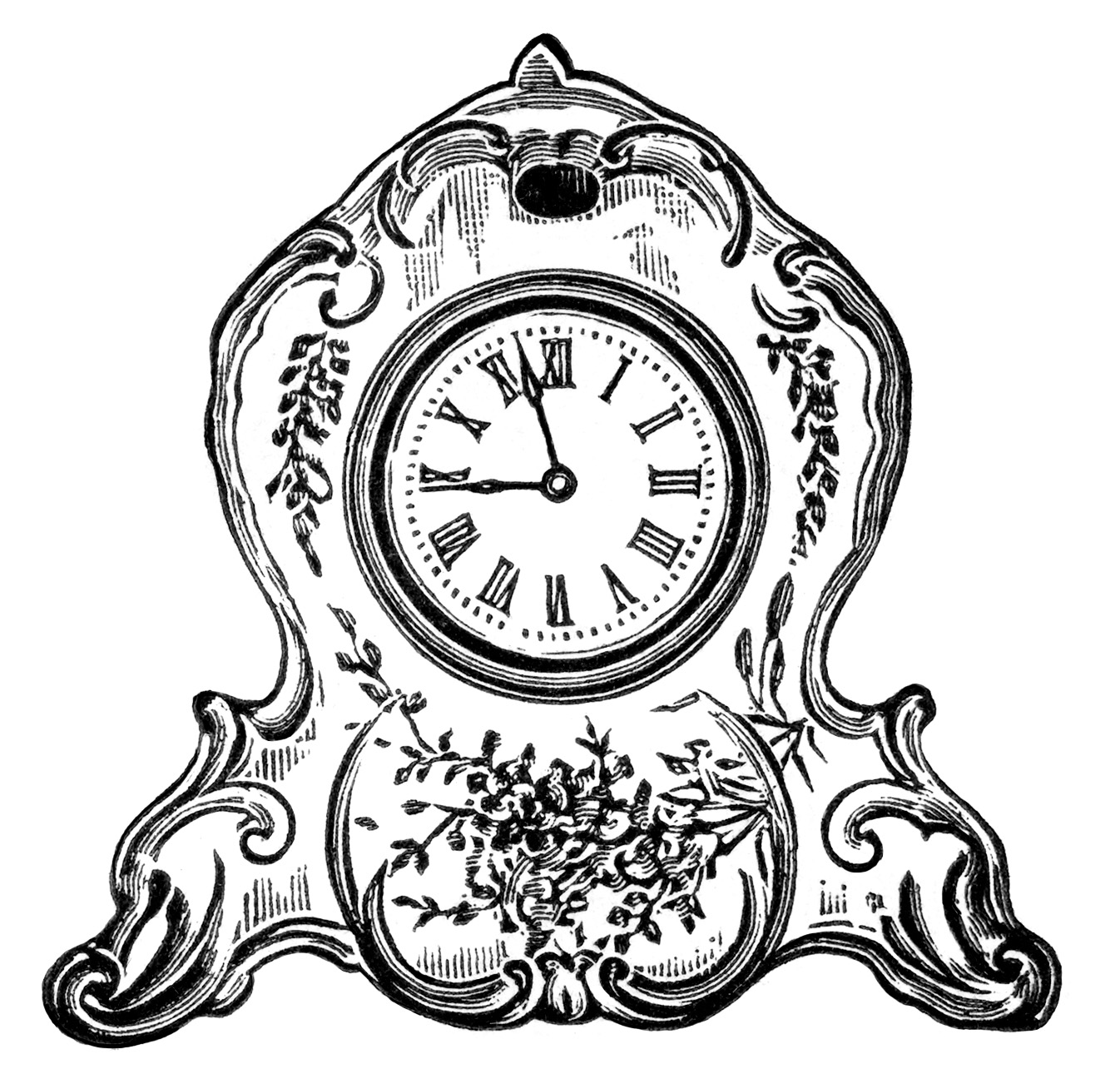 vintage clock clipart, black and white clip art, decorated porcelain clock image, antique mantel clock illustration
