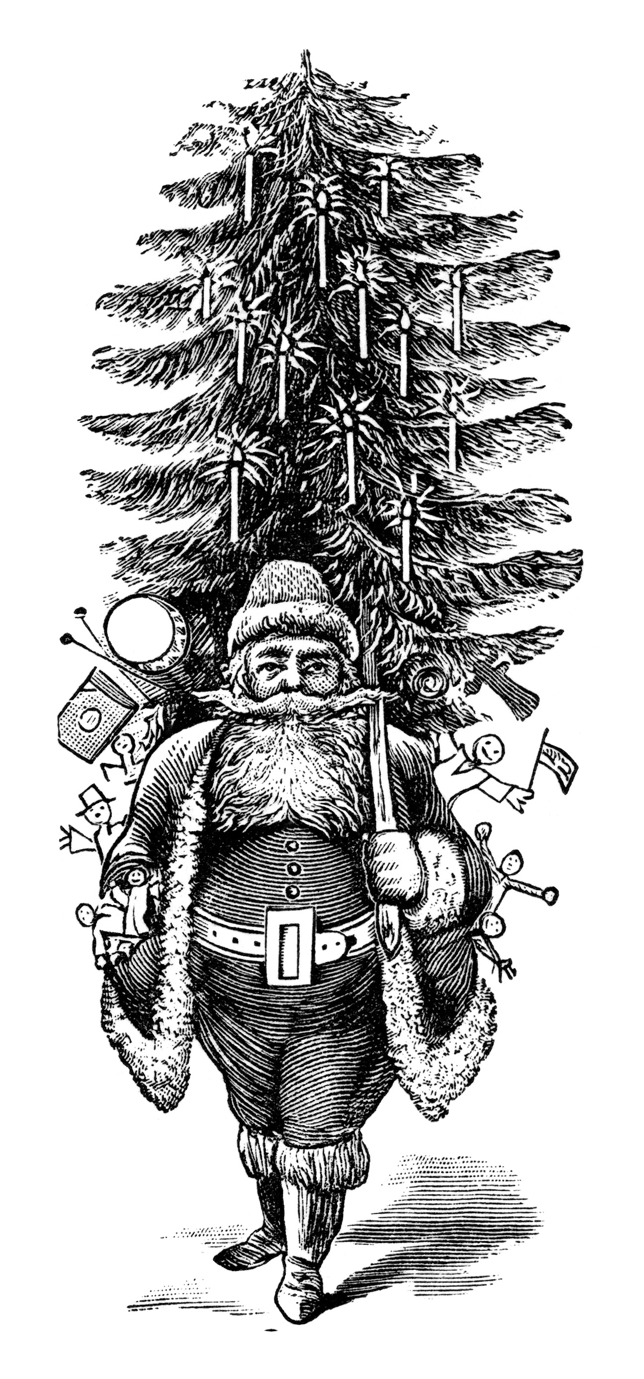 vintage santa clipart, vintage printable christmas, free black and white clip art. fun santa image, unique old fashioned holiday illustration