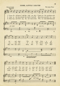 free vintage image, come little leaves song, sheet music graphic, aged paper printable, old music page