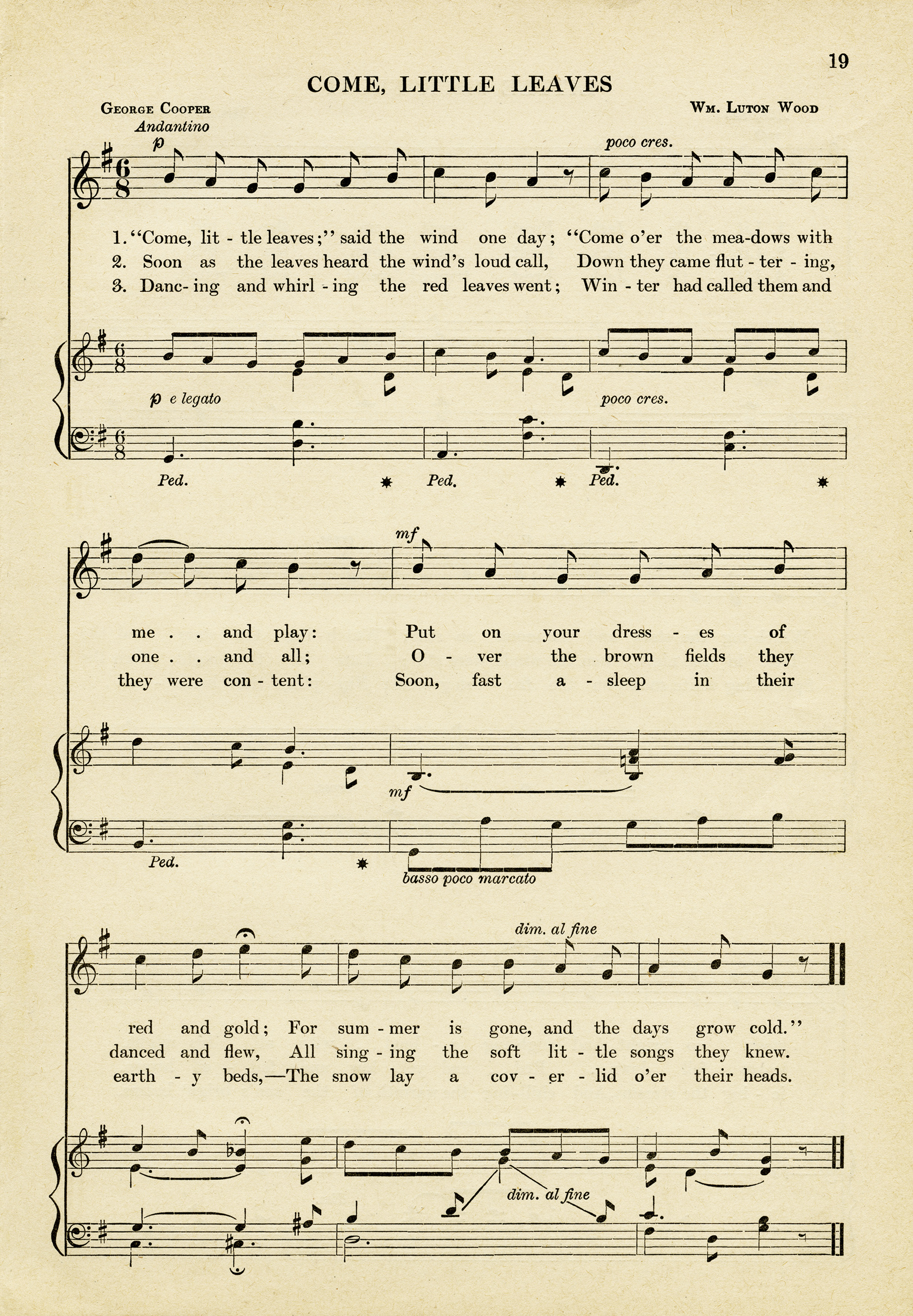 graphic relating to Vintage Sheet Music Printable known as Arrive Minor Leaves Sheet New music ~ Totally free Common Picture - Previous