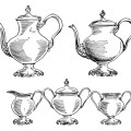vintage tea set clip art, black and white clipart, old fashioned kitchen printable, coffee pot image, tea pot illustration, free coffee tea graphics