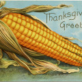 vintage corn clipart, old thanksgiving postcard, corn cob image, free fall graphics, antique corn thanksgiving postcard